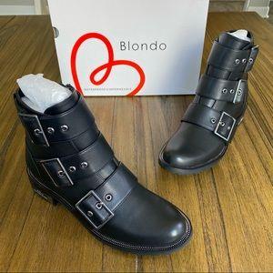 Blondo black leather waterproof moto boots